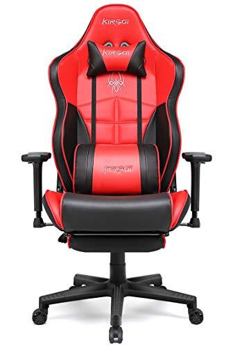 Kirogi Gaming-Stuhl, Gamer-Stuhl mit Fußstütze, Ergonomischer Computerstuhl mit Lendenwirbelstütze, Verstellbarer PC-Gaming-Stuhl für Erwachsene, großer und hoher Bürostuhl aus Kohlefaser Leder. Rot
