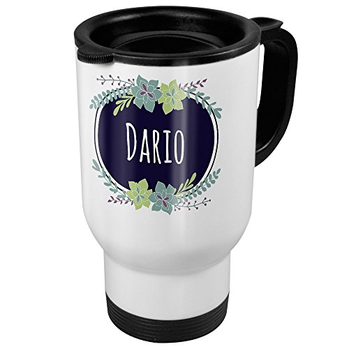 printplanet Thermobecher weiß mit Namen Dario - Motiv Flowers - Coffee to Go Becher, Thermo-Tasse