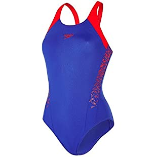 Speedo Women Boom Splice Muscle Back Swimsuit, Blue (Ultramarine/Lobster), 34:Isfreetorrent