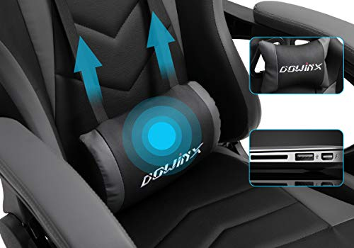 Dowinx Gaming Chair Ergonomic Office Recliner for Computer with Massage Lumbar Support, Racing Style Armchair PU Leather E-sports Gamer Chairs with Retractable Footrest (Black&Grey)
