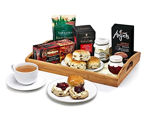 Afternoon Tea & Scones Gift Set - Hand Wrapped Food Basket, in Gift Hamper Box