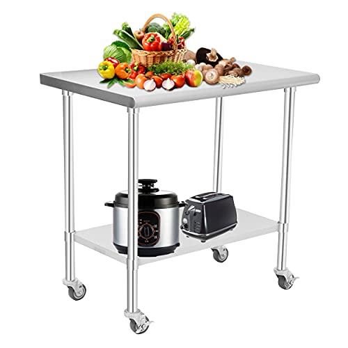 """HOCCOT Stainless Steel Prep & Work Table with Adjustable Shelf, with Backsplash and Wheels, Kitchen Island, Commercial Workstations, Utility Table in Kitchen Garage Laundry Room Outdoor BBQ, 24"""" X 36"""""""