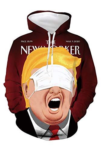 Bilicos Herren Damen Sweatshirt Mantel Outwear Print Jacke Tops Pullovershirt Lustig Trump Maske Comic