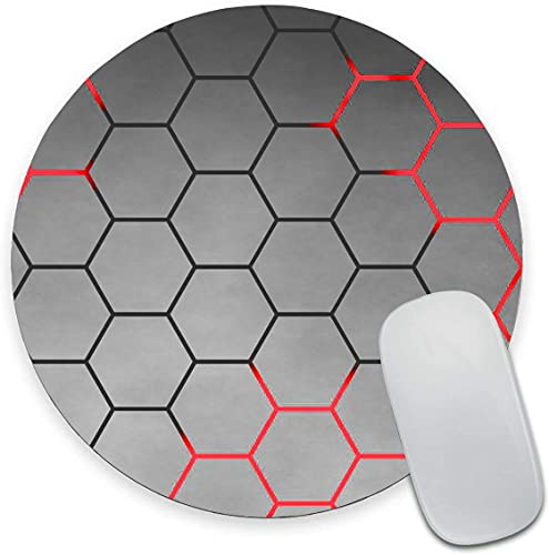 Red and Black Honeycomb Mouse Pad, Grey Background Mouse Pad, Round Gaming Mouse Mat Waterproof Circular Small Mouse Pad Non-Slip Rubber MousePads for Office Home Laptop Travel