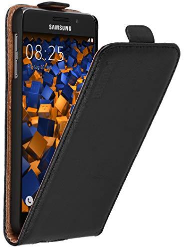 mumbi Echt Leder Flip Hülle kompatibel mit Samsung Galaxy A3 2016 Hülle Leder Tasche Hülle Wallet, schwarz