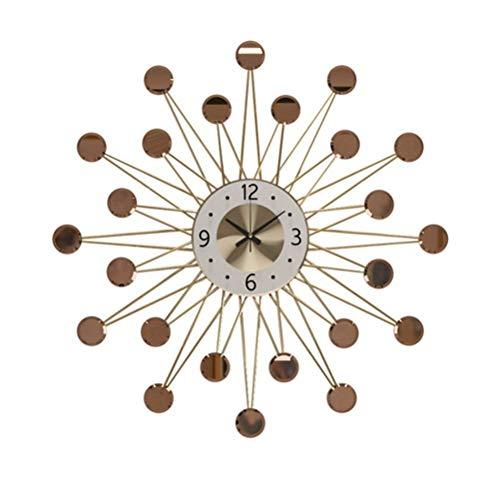 Starburst - Reloj de pared, diseño moderno 3D, esfera de metal con forma de espejo redondo geométrico, gran decoración silenciosa, funciona con batería, dorado, 70 cm