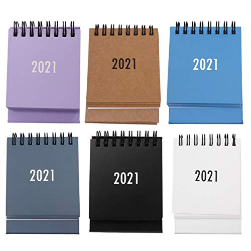 KESYOO 6pcs 2021 Calendar Mini Stand Up Table Calendars 12 Months Flip Calendar Tent Office Calendar (2020.7-2021.12 Mixed Color)