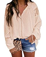 Biucly Womens Casual V Neck Lace Apricot Blouses 2020 Drawstring Long Sleeve Shirts Loose Tops(S-XXL)