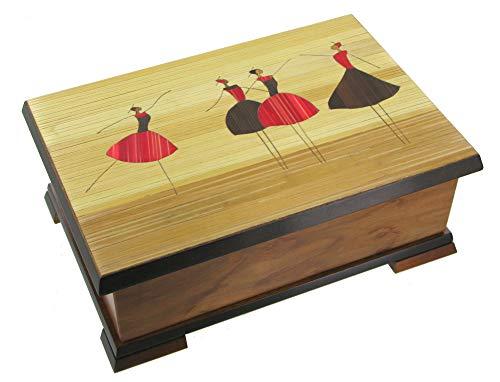 Schmuckschatulle / Spieluhr aus Massivholz mit Stroheinlegearbeit und tanzender Ballerina - Schwanensee (P. I. Tschaikowski)