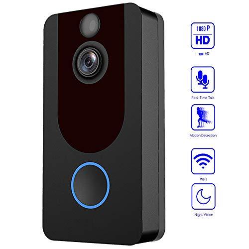 YOLANDE Campanello Video Wireless WiFi, 1080P HD Cloud Storage Gratuito Fotocamera Campanello Intelligente,Conversazione bidirezionale, Rilevazione Movimento PIR e Visione Notturna Video,Nero