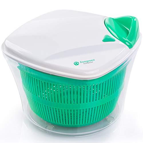 freegreen® Premium Salatschleuder [5L] mit patentierten Zugmechanismus, Siebeinsatz & Deckel mit integriertem Wasser-Ausgießer | Inklusive Kochbuch