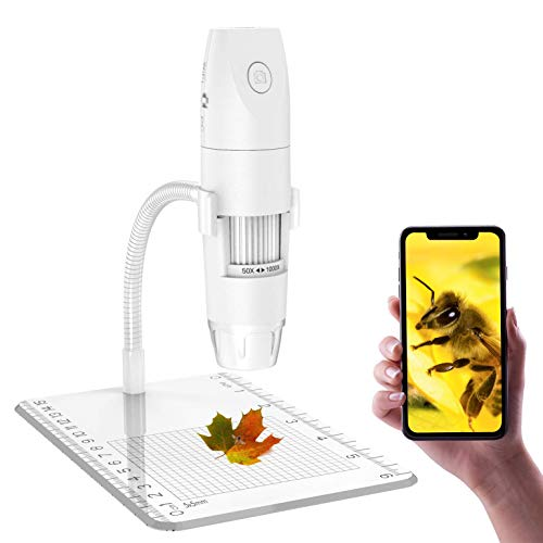 Drahtloses Digitales Mikroskop, Skybasic Mini Handgehalten USB Kamera 50X bis 1000X Vergrößerung 1080P FHD 2.0 MP 8 LED WiFi-Endoskop Kompatibel mit iPhone IOS Android iPad Windows, MAC