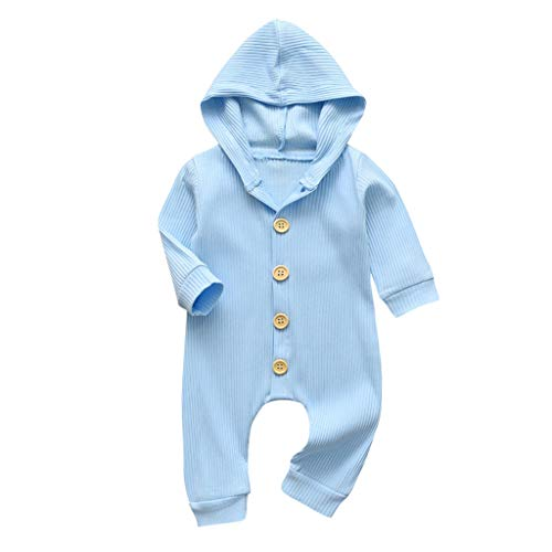 Shan-S Newborn Baby Girls Boys Romper Infant Solid Color Long Sleeve Buttons Hooded Jumpsuit Autumn Winter Clothes Outfits Clothes