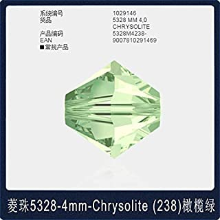 Calvas Ms Betti hot 5328 4mm Plain Color1-250 Rhombus Bicones Beads Crystal from Swarovski Loose Beads Retail for Jewelry Making Bijoux - (Color: 238 Chrysolite Bead, Item Diameter: 4mm)