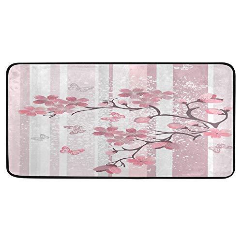 Alfombra de cocina japonesa con diseño de flor de cerezo rosa, diseño de mariposa, antideslizante, para baño, interior, 99 x 50 cm