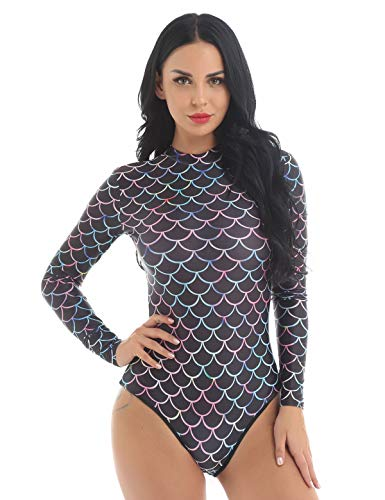 Agoky Damen Meerjungfrau Badeanzug Langarm Einteiler Bodysuit sexy Bademode Fisch Schuppen Print UV Schutz Schwimmanzug Badebekleidung Schwarz L/XL