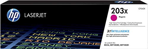 HP 203X CF543X Cartuccia Toner Originale, da 2500 Pagine, ad Elevata Capacità, Compatibile con le Stampanti HP Color LaserJet Pro MFP Serie M250 e M280, Magenta