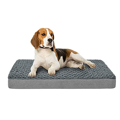 Petorrey Plush Memory Foam Orthopedic Dog Bed for Medium, Large Dogs with Cooling Gel, Washable Dog Crate Mat, Removable Cover & Waterproof Lining
