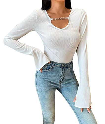 ZhiWanTing Mode Sexy Cutout Slim Fit Langarmshirt für Frauen Pullover T Shirt mit Trompetenärmel Weiß S