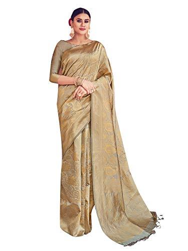 STYLE INSTANT Sarees para mujer Banarasi Art Seda tejida Sarie, regalo de boda indio Sari con blusa sin costura