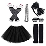 Miayon Kids 6 in 1 Costume Accessories 1970s 1980s Fancy Outfits and Dress for Cosplay Party Theme Party for Girl Black
