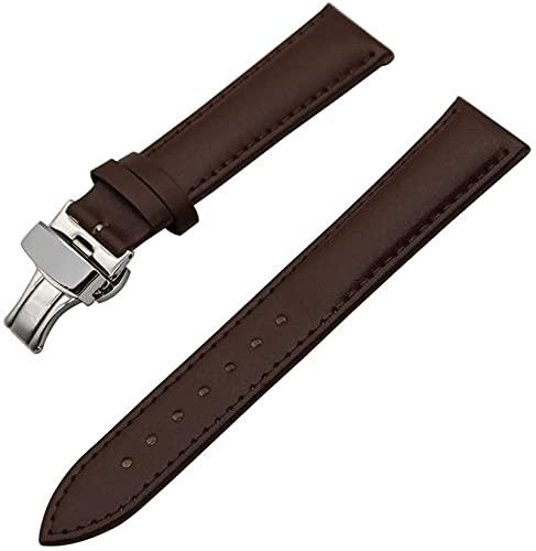 chenghuax Correa universal de piel de 16 mm, 18 mm, 20 mm, 22 mm, 24 mm, correa de reloj de pulsera con hebilla de mariposa (color 18 mm, tamaño: marrón)