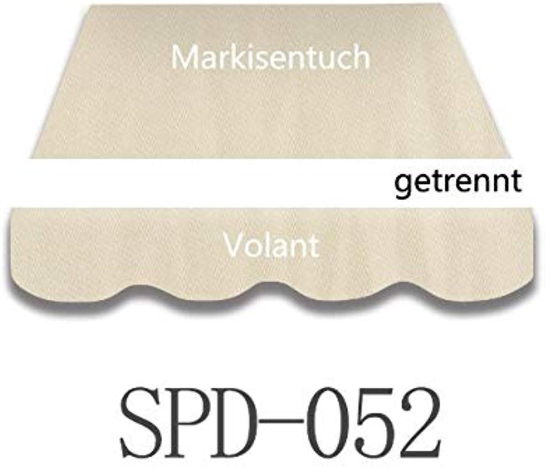 Home & Trends Preisgünstige Markisentuch Stoffe Bespannung Ersatzstoffe Mae 5 x 3.5 m Markisenstoffen Schlicht Beige OHNE Volant fertig genht mit Bordeux (SPD052)