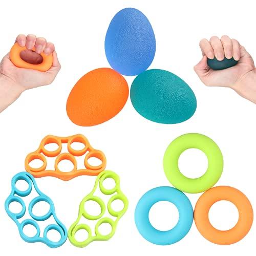 Junyobee Handtrainer - Fingertrainer - Antistressball 9er Set Hand Finger Trainingsgerät - Griffkraft Handgelenk Trainer Klettertraining-Stress Relief Squeeze Bälle-Therapieball