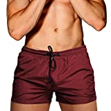 Cocobla Men Swim Brief Sexy Surfing Board Shorts Beach Boxer Swimming Trunks with Pockets(Order One Size UP), W-burgundy, Large