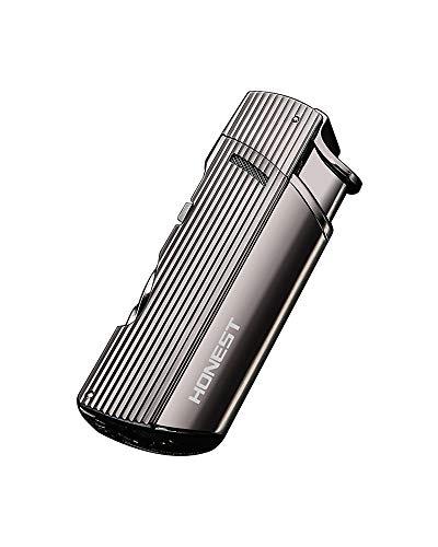 【WDMART】 葉巻 用ライター ガスライター メタルライター 充填式ライター 注入式ライター ツイン ターボ ジェット ライター 葉巻パンチ付き 誕生日プレゼント(ガスを含んでいません)(ブラック)