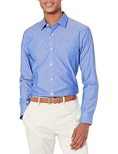 Amazon Essentials Men s Slim-Fit Wrinkle-Resistant Long-Sleeve Dress Shirt, French Blue, 15.5  Neck 34 -35