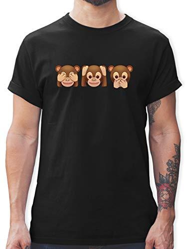Comic Shirts - Äffchen Emoticon - XL - Schwarz - affen t - L190 - Tshirt Herren und Männer T-Shirts