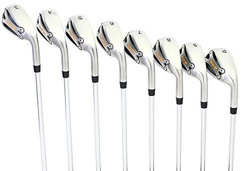 SV2 Complete 8-Piece Men's Right Handed Golf Iron Set (3-PW) Premium Graphite Shaft - Senior Flex with Standard Size Orange Majek Grip