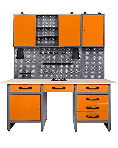 Ondis24 Werkstatt Set Jerry Orange 160 cm, versenkbare Steckdose, Werkbank, Werkzeugschrank,...