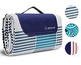 ZOMAKE Coperta Telo Picnic Impermeabile 200x150cm Grande Pieghevole Portable Tre Strati Picnic Stuoie per Spiaggia Campeggio Giardino(Plaid Grigio-Blu)