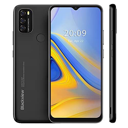 Blackview A70 2021 Smartphone ohne Vertrag, Android 11 Handy, 6,517 Zoll HD + Bildschirm, 3GB+32GB, 5380 mAh Akku, 13MP+5MP Kamera, Dual SIM Smartphone 4G, Face ID, GPS, Schwarz