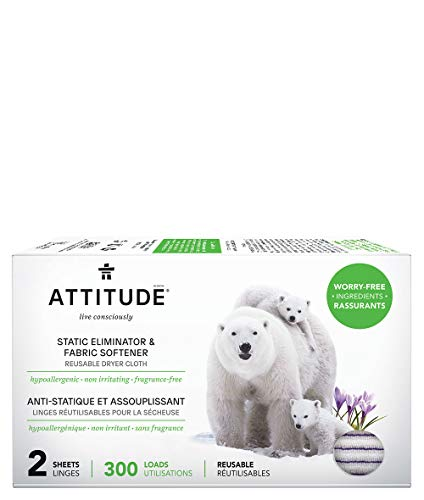 ATTITUDE Hypoallergenic Static Eliminator Cloths & Softeners, Fragrance Free, Reusable for Up...