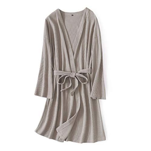 GJF wafel katoenen badjas mannen Pure Color eenvoudig lange mouwen nachthemd middellange robe pyjama met riem