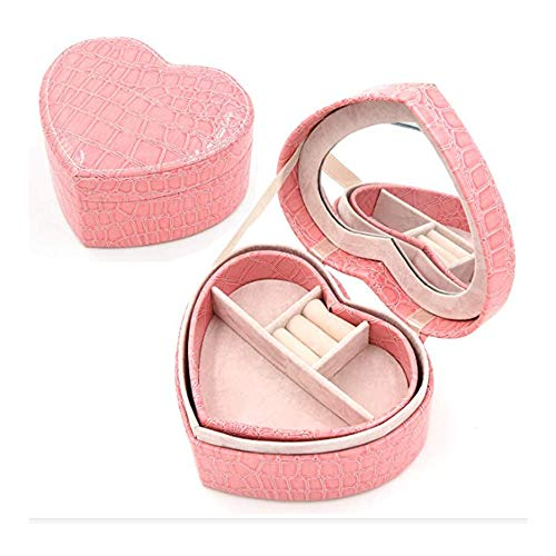 Schmuckkästchen mit einzigartigem Muster, herzförmig, aus PU-Leder, doppelschichtig, Organizer für Hochzeit, Rosa