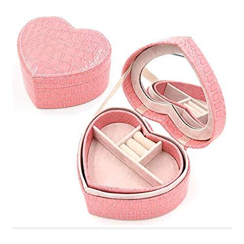 Unico modello a forma di cuore portagioie titolare di cuoio dell'unità di elaborazione doppio strato organizzatore titolare sacchetto di immagazzinaggio matrimonio rosa