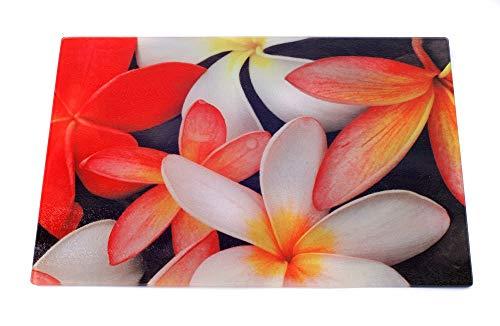 "Glass Cutting Board Plumeria Flowers 15.25"" x 11.25"""