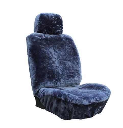 Genuine Sheepskin Seat Covers Fur Seat Covers for Cars Furry Seat Covers for Car Fuzzy Seat Covers for Car Fluffy Seat Covers for Car Fur Shearling Car Accessories Auto Car Truck SUV (Gray)