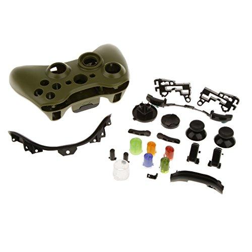 Skin Caso Cover Pulsante Alloggiamento Pieno Sostituzione Del Kit Mod Per Xbox 360 Controller Verde Militare