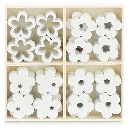 com-four® 32x Flower Sprinkle Decoration - pequeñas Flores de Madera en Cuatro diseños - Flores de Madera para Decoraciones de Mesa y Primavera (32 Piezas de Flor)