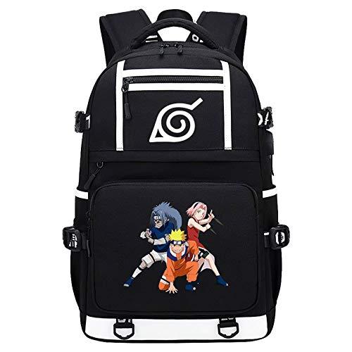 Nime Cartoon Backpack with USB Charging Port Daypack Shoulder Rucksack Laptop Bag