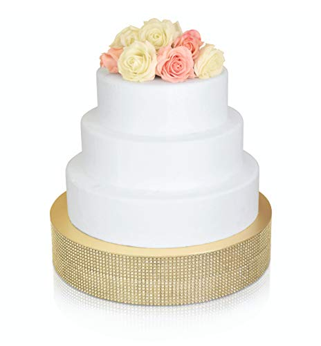' OCCASIONS' Bling Wedding Cake Stand (Holds 150 lbs), Cupcake Base, Decorating Party Centerpiece (12 inch Round, Soft Gold)