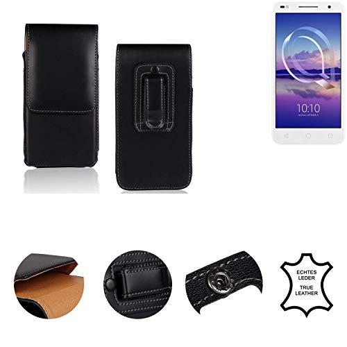 K-S-Trade® Gürtel Tasche Für Alcatel U5 HD Dual SIM Handy Hülle Leder Schwarz, 1x