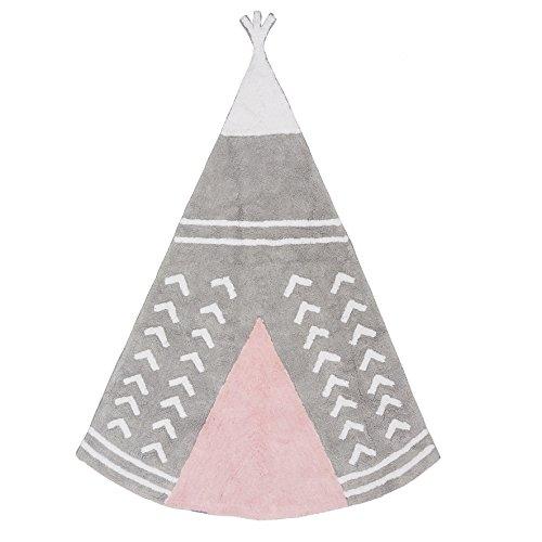 Aratextile. Tapis pour enfant 100% coton lavable en machine Collection Arizona Gris_Rose 120 x 160 cm