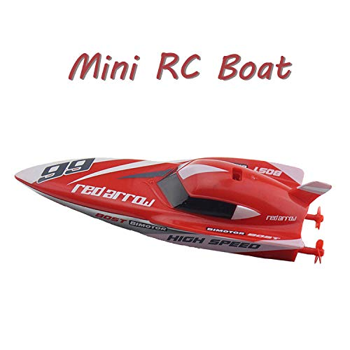 Escomdp 4CH 2.4G Rechargeable Remote Control Boat Water Toy RC Speedboat Speed Racing Ship Kids Toy (No Antenna Required) (Red)