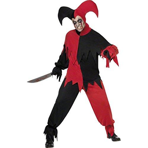 NET TOYS Böser Clown Halloween Kostüm Harlekin M 48/50 Clownkostüm Halloweenkostüm Clownskostüm Horrorclown